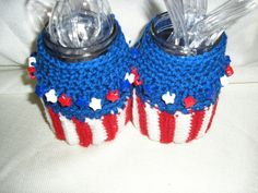Utensil, flatware holders for you Picnic Table. Patriotic colors or color of your choic by HooksBrushesandBeads on Etsy