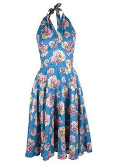 50s Monroe Dress - Blue Floral