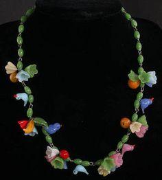 Sweet Vintage Venetian Art Glass Fruit Salad Frosted Glass Bead Necklace w/Birds