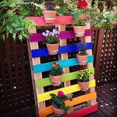 DIY Upcycled Rainbow Pallet Flower Garden Planter