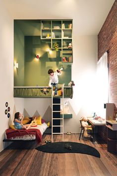 The suspended LagoLinea Weightless bed seems like a tree house, stimulating fantasy and creating loads of extra space in children's rooms. Comfy Bedroom, Kids Bedroom, Small Hallways, Decoration Inspiration, Kids Room Design, Little Girl Rooms, Kid Spaces, Nursery Room, Home Interior Design