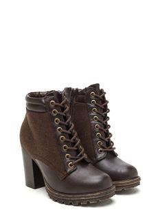 Upgrade You Faux Leather Lug Booties BROWN BLACK CHESTNUT - GoJane.com