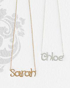 Name Necklace by Sarah Chloe - Garnet Hill Kids Gold Name Necklace, Diamond Solitaire Necklace, Diamond Pendant Necklace, Teardrop Necklace, Diamond Cuts, Garnet, Chloe, Kids, Children