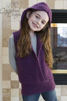 Ravelry: Rebecca Jean Hooded Vest Child CAL pattern by Crystalized Designs