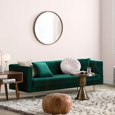 Luxe-Touch Upholstery - The Top Trends For According To AllModern - Photos Living Room Modern, Home Living Room, Living Room Furniture, Living Room Decor, Apartment Living, Living Room Trends 2019, Velvet Chesterfield Sofa, Leather Pouf, Pouf Ottoman