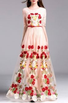 Zippered Embroidery Hollow Out Dress