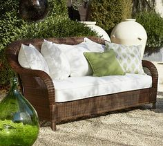 Palmetto All-Weather Wicker Sofa - Honey #potterybarn