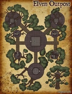 Elven Tree Outpost - created in photoshop, adventure hooks included : UnearthedArcana