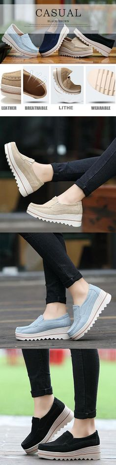 US$27.30 Womens Breathable Suede Round Toe Slip On Platform Shoes