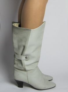 Vintage 1980s New Wave White Leather & Suede Heeled Calf Length Boots available to buy online at Virtual Vintage Clothing £24