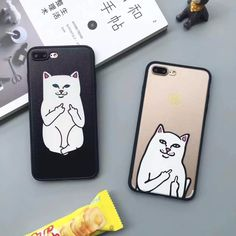 New  Weird Finger White Cat Phone Cases for iPhone 7 7 Plus 6 6s 6Plus 6sPlus 5 5s PC Back Case Cover
