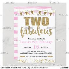 Girl's Pink & Gold Two Fabulous 2nd Birthday Invitation 2nd Birthday Invitations, Custom Invitations, Colored Envelopes, White Envelopes, Girl 2nd Birthday, Design Girl, Envelope Liners, Pink Girl, Pink And Gold