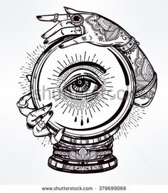 Hand drawn romantic flesh art of a Crystal Ball in psychics hands with eye in it. Vector illustration isolated. Tattoo design, mystic magic symbol for your use.