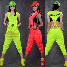 Neon color costumes male Women racerback hiphop hip hop dance ds ...