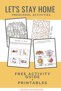 Let's Stay Home! from Reading to Discover Preschool Bible, Preschool Education, Preschool At Home, Free Preschool, Preschool Printables, Kindergarten Learning, Early Education, Free Printables, Alphabet Activities