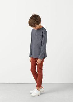 Хлопковая футболка с вырезом хенли | MANGO KIDS