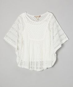 White Lace Cape-Sleeve Layered Top by Speechless #zulily #zulilyfinds