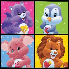 Care Bear Cousins - Bright Heart ( Racoon) , Cozy Heart (The Penguin), Lots A Heart ( Pink Elephant), Brave heart (The Lion)