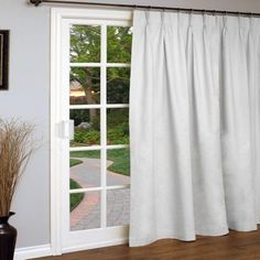 Weathermate Pinch Pleated Patio Door Curtain Panel In White 96x84 L 70642 580