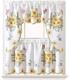 Best Kitchen Curtains of 2021 | CountryCurtains Kitchen Curtains And Valances, Tier Curtains, Kitchen Curtain Sets, Cafe Curtains, Cafe Curtain Rods, Metal Curtain, Ocean Home Decor, Ocean House, Country Curtains