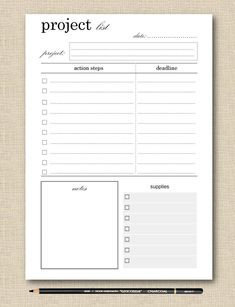 Life's Lists Printable Project Planner - Planner Page - Project List - Black & White Printable - diy deko Study Planner, Life Planner, Homework Planner, College Planner, Pages D'agenda, Bujo, Daily Organization, Custom Planner, Project List