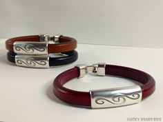 Women's leather bracelet licorice leather by LuckyBeadsBox on Etsy