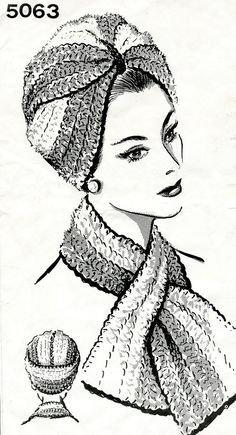 Crochet Pattern for Turban, vintage inspired hat crochet pattern, printed paper pattern, free shippi Motif Vintage, Vintage Patterns, Sewing Patterns, Crochet Patterns, Crochet Stitches, Turban Hat, Turban Style, Crochet Turban, Crochet Hats