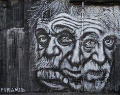 Three Faced Einstein #Camden #graffiti #monochrome