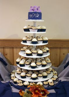 Navy Wedding Cupcake Tower - Around the World in 80 Cakes