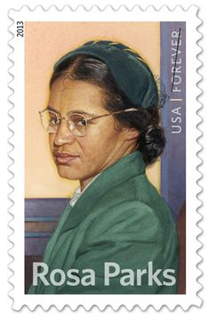 The Rosa Parks' 100th birthday commemorative postage stamp that was unveiled earlier in the day at the museum, Monday, Feb. 4, 2013. (Courtesy of the U.S. Postal Service)