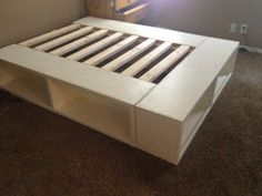 diy storage bed. perfect for our double bed