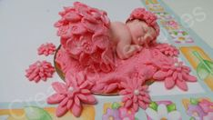 FONDANT BABY Cake Topper Cute Shimmer Coral Tutu Baby by anafeke2