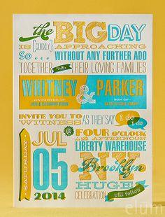 BILLBOARD | Elum Couture Vol. 3, Letterpress Wedding Invitations | Elum Designs,  Letterpress wedding invitations, Elum, jumbo size, mustard, teal, yellow and teal, large invitations, typography, folding invitation, hipster, whimsical
