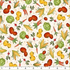 "QT Anderson ""Farmer's Market"" #24816-E Small Tossed Vegetables Fabric (Select Size) by LOVINGTOUCHFABRICS2 on Etsy"