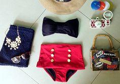 SALE! Weeklong Blowout: Paula Black Bow Bandeau Highwaist Swimsuit Swimwear Bikini Bathing Suit