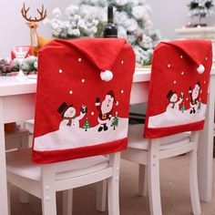 YOBAYE Santa Hat Chair Covers,Set of 6 Pack Kitch Chair Back Covers, Christmas Dinner Party Table Decorations,Santa Claus Snowman Chair Covers for Christmas Holiday Festival Decor Kitchen Chair Covers, Kitchen Chair Cushions, Chair Back Covers, Xmas Table Decorations, Decoration Christmas, Decoration Party, Christmas And New Year, Christmas Home, Merry Christmas