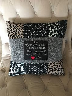QUILT PILLOW - from loved ones clothes- Keepsake Pillow - Heart pillow - Patchwork Pillow - photo pillow - Loss of Mom - Loss of Mother - Craft Ideas Memory Pillow From Shirt, Memory Pillows, Memory Quilts, Patchwork Pillow, Quilted Pillow, Patchwork Quilting, Patchwork Jeans, Sewing Hacks, Sewing Crafts
