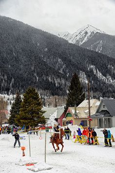 going to grab a ring skijoring in Silverton, Colorado. Silverton is a small mountain town to the North of Durango