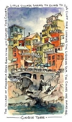 Brenda Swenson - travel sketch, pen & ink watercolor, with text
