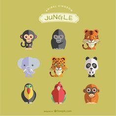 Animaux de la jungle fixés Vecteur gratuit