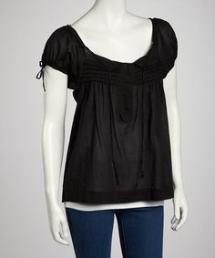 Take a look at this Black Pleated Peasant Top by Lazy Daisy on #zulily today!