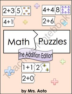 This file contains printable 3-piece puzzles that feature an addition equation in the left side piece, its sum in the middle piece, and a picture of a corresponding number of objects in the right side piece. The left corner piece is interchangeable to include the variety of addition equations that have the same sum. For instance, the left side piece that has 2+2 is the same shape as the left side pieces that have 3+1, 1+3, 4+0, and 0+4. #Math #Addition #MathCenter