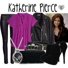 Katherine Pierce -- The Vampire Diaries by evil-laugh on Polyvore featuring H&M, tvd, KatherinePierce and thevampirediaries
