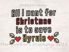 Zelda - All I Want for Christmas - Cross Stitch Pattern