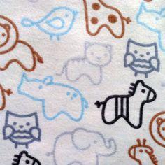 Nursery Fabric- Blue Animal Silhouettes Flanel, , hi-res