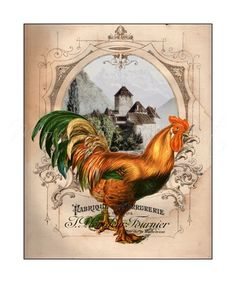"8x10 Rooster Print, French Country Decor, Colorful, Kitchen Art, ""French Chateau Rooster III"""