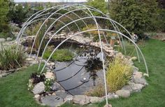 How to build a winter pond cover. This simple structure is an easy way to protect your koi and goldfish from extreme winter temperatures.