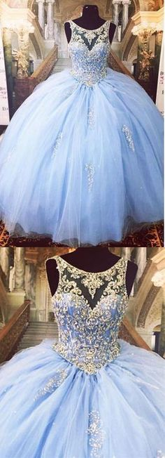 Luxurious Crystal Ball Gowns, Beaded Ball Gown Prom Dresses, Blue Quinceanera Dresses - The most beautiful dresses and seasonal outfits Best Prom Dresses, Sweet 16 Dresses, Prom Dresses Blue, Pretty Dresses, Beautiful Dresses, Long Dresses, Light Blue Quinceanera Dresses, Evening Dresses, Wedding Dresses