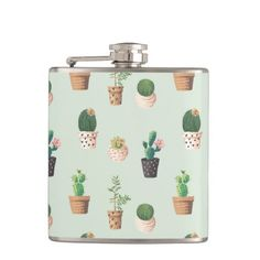 Cute Cactus Pattern Hip Flask Jan 17 2017 #junkydotcom #zazzle