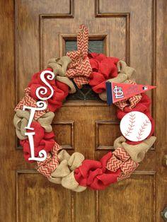 St. Louis Cardinals Wreath by DancingDoorsDecor on Etsy https://www.etsy.com/listing/222725163/st-louis-cardinals-wreath